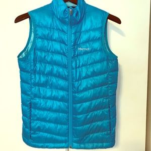Marmot aqua blue outdoor quilted vest size small